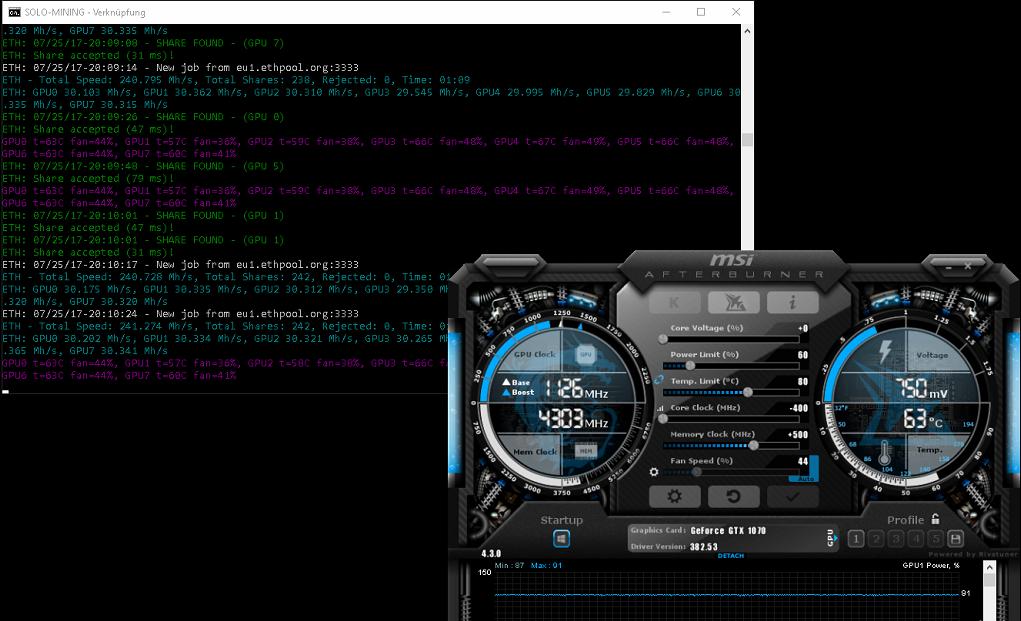Optimize hashrate Asus 1070 GTX OC 8GB Strix — Ethereum