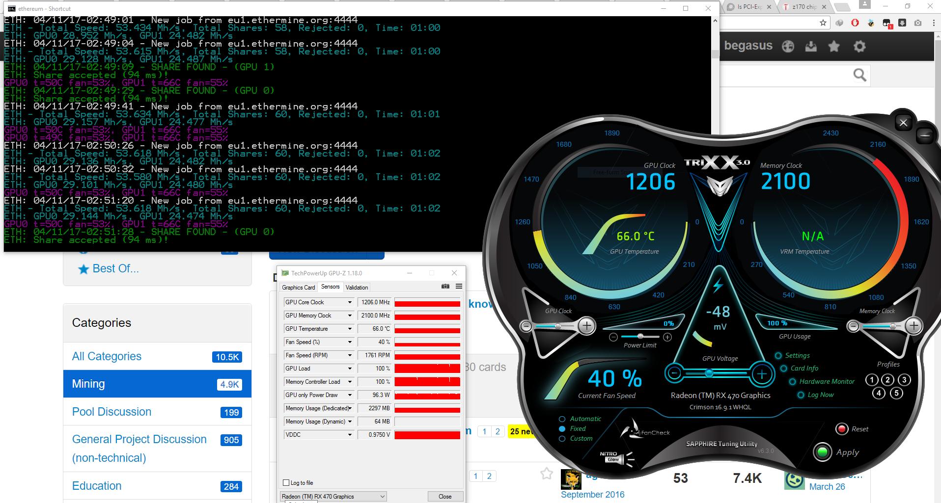 my result 29mh after flashing my 2x SAPPHIRE NITRO + Radeon