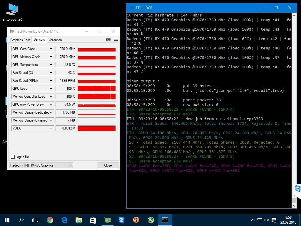 MSI Radeon™ RX 470 GAMING X, 8GB = ETH 24 1 MH/s + SIA 361