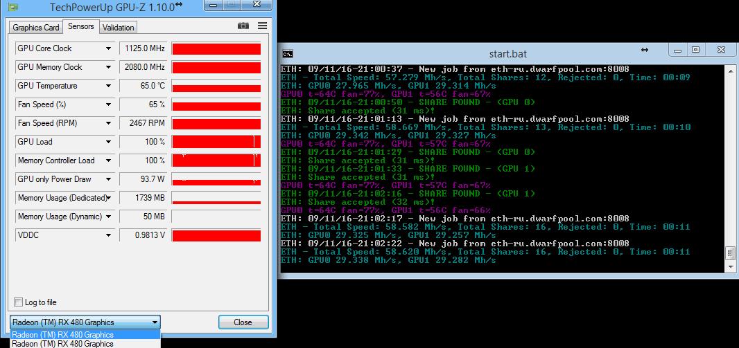 Sapphire RX 480 Nitro+ OC 8GB (11260-01-20G) modded BIOS 29+