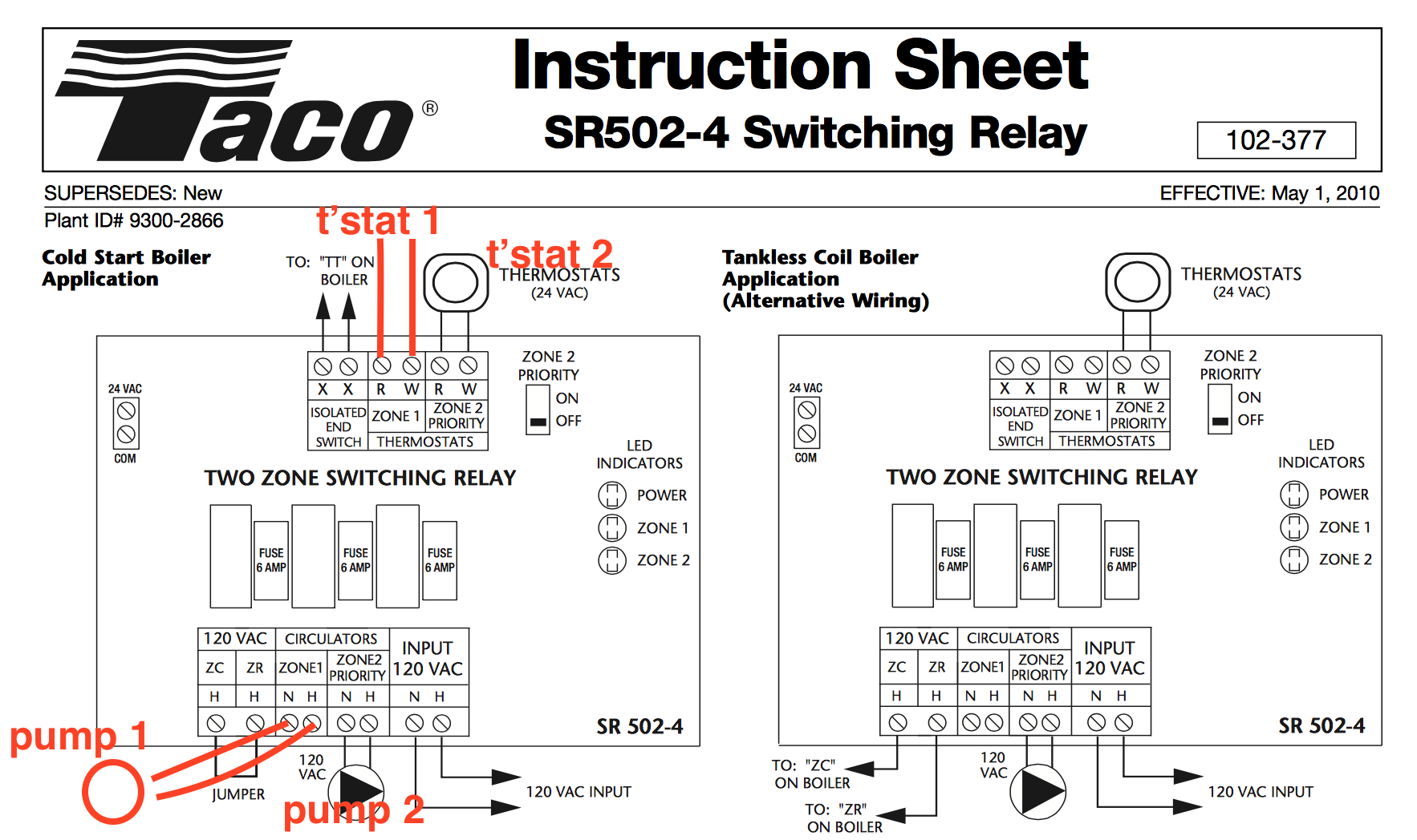 Taco Sr501 4 Switching Relay Honeywell Ra832a Wiring Diagram With Sr502 Pump Markup 2
