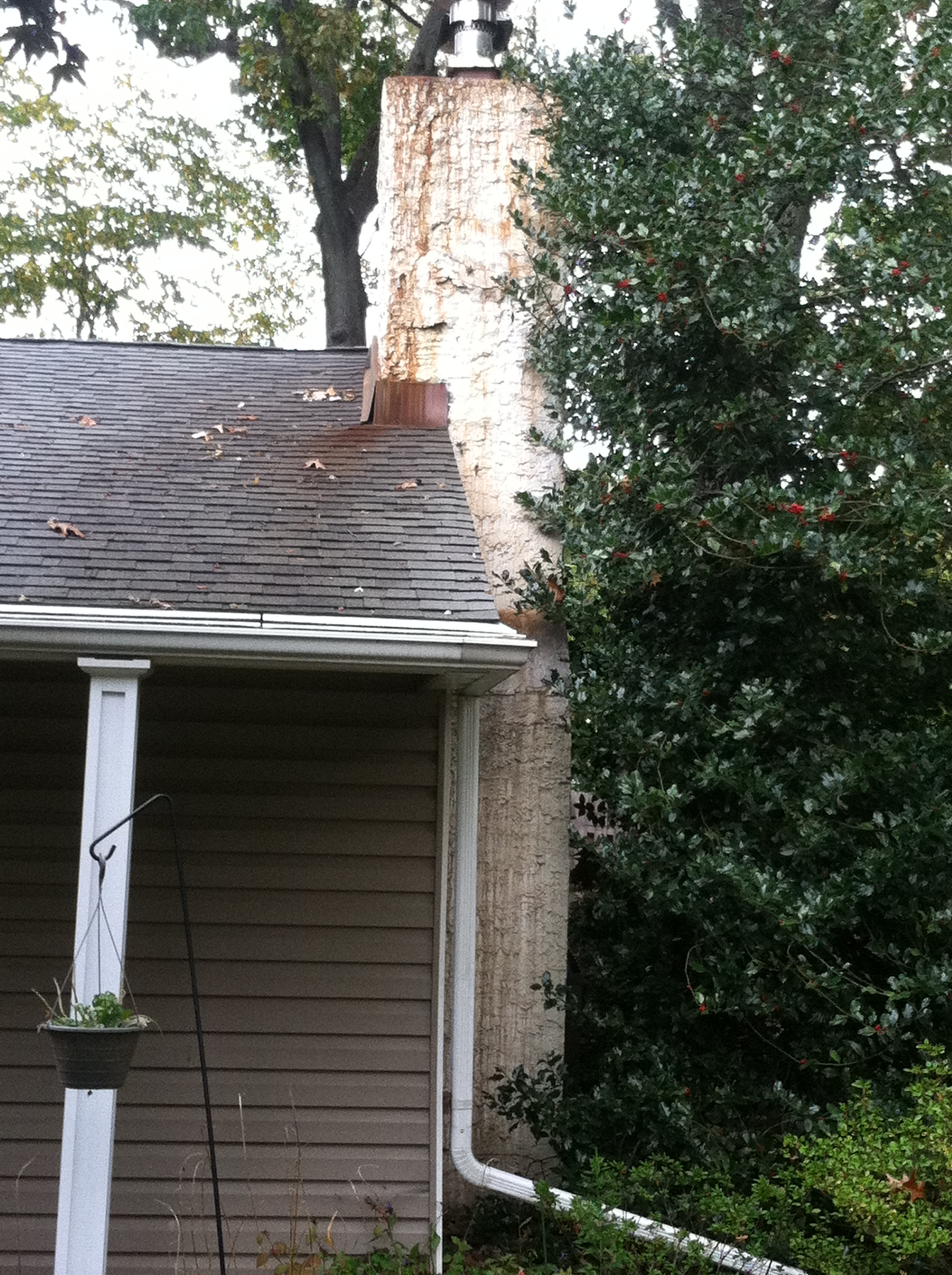 Red Staining On Chimney Exterior From Red Dye In Oil