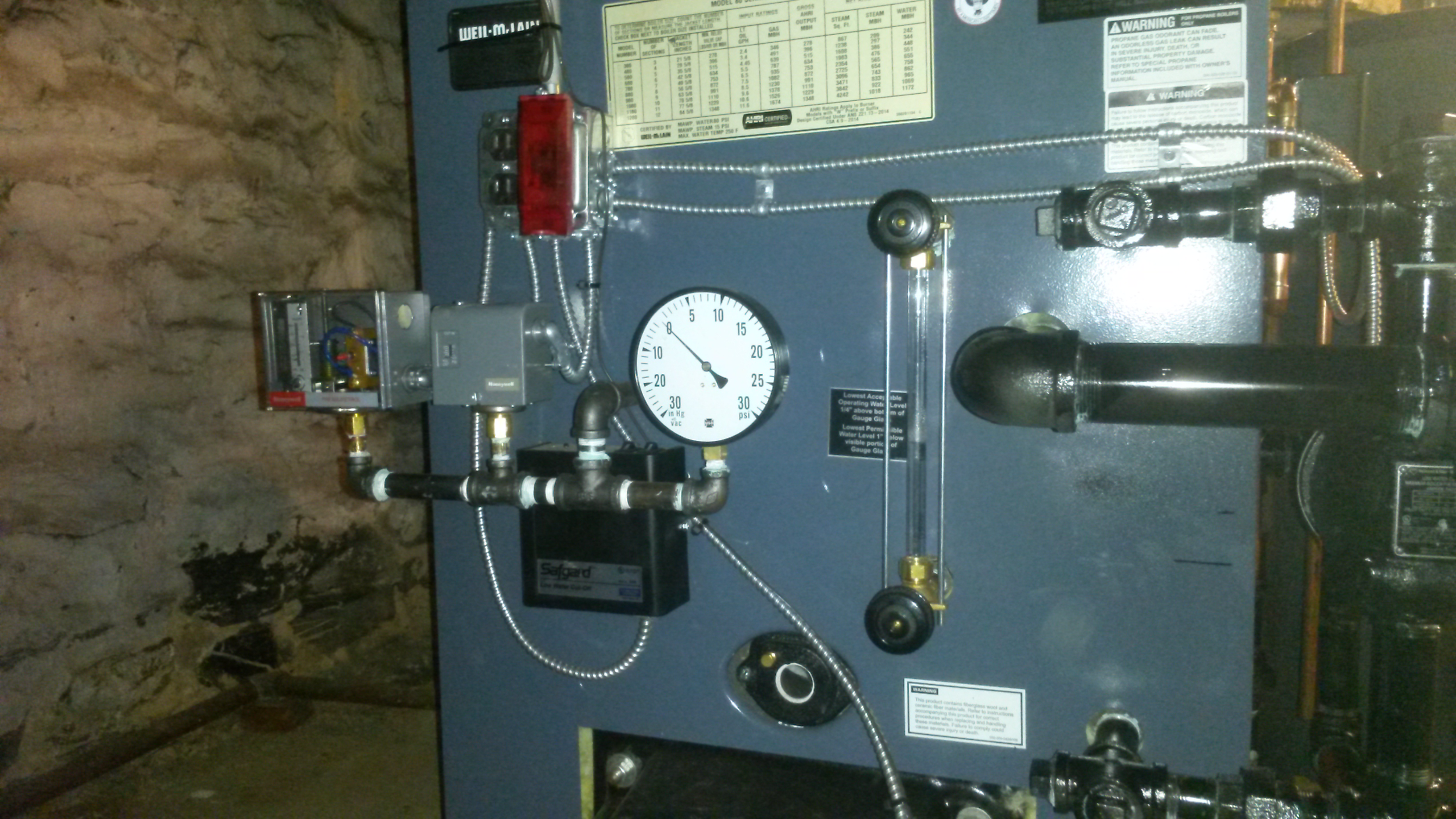 Piping of Pressuretrol & guage on new Wiel-McLain 380 steam boiler ...