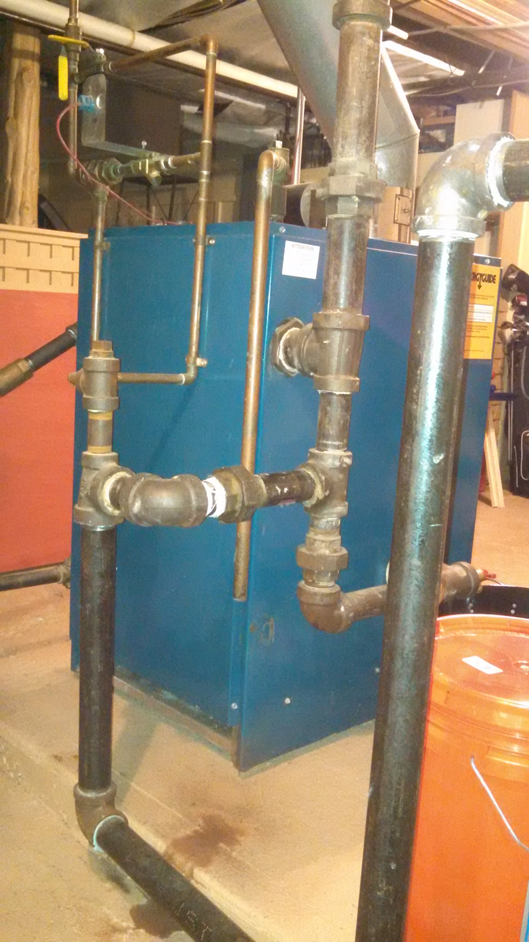 Pictures of near boiler piping. Water hammer and pressure reading at ...