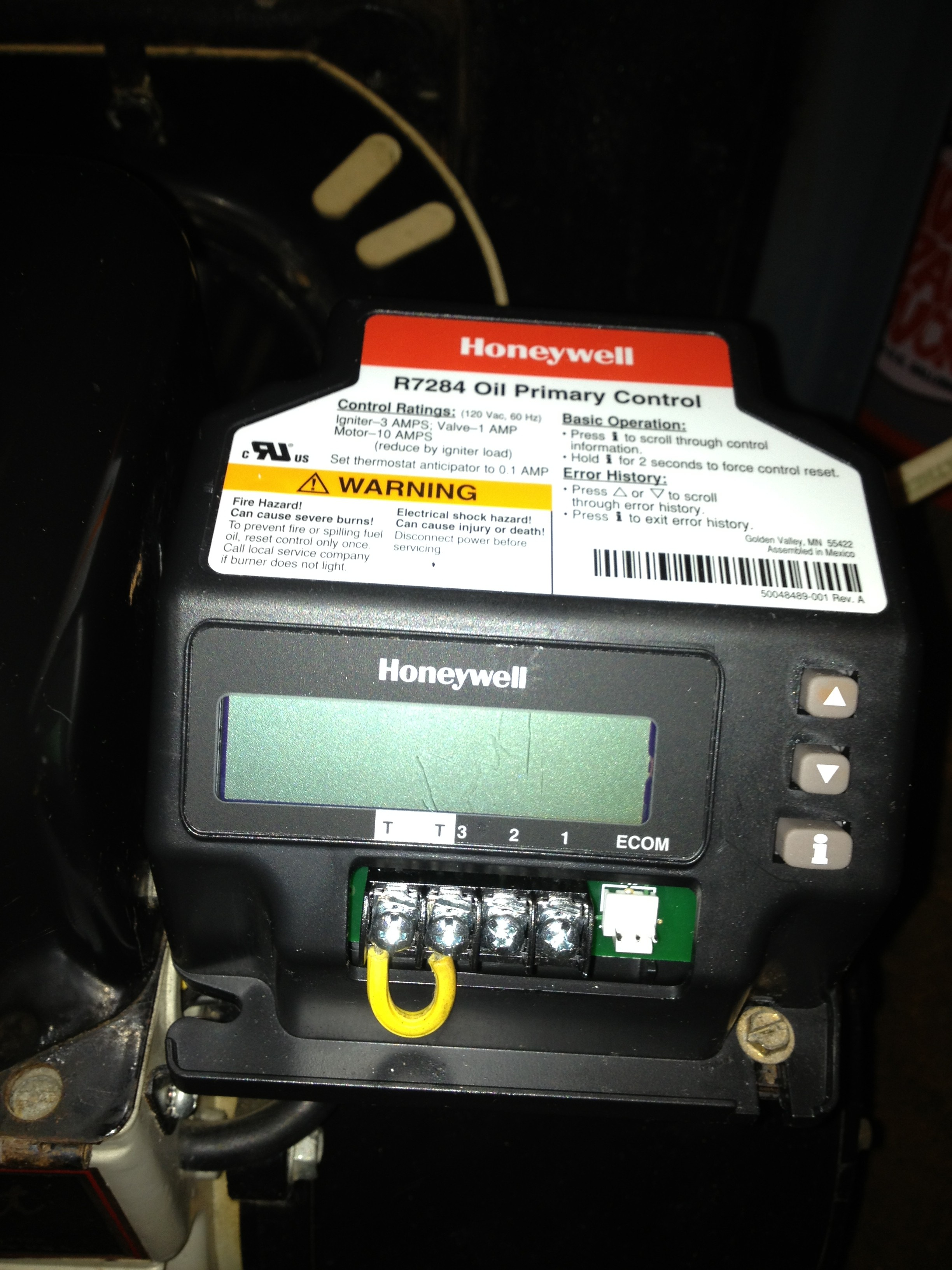 Honeywell R7284U oil primary mdash Heating Help The Wall