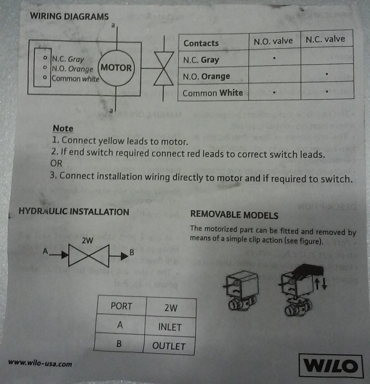 Wilo 3 Wire Zone Vale Wiring Help Heating The Wall Diagram For Motor Lead Connections B 5597k