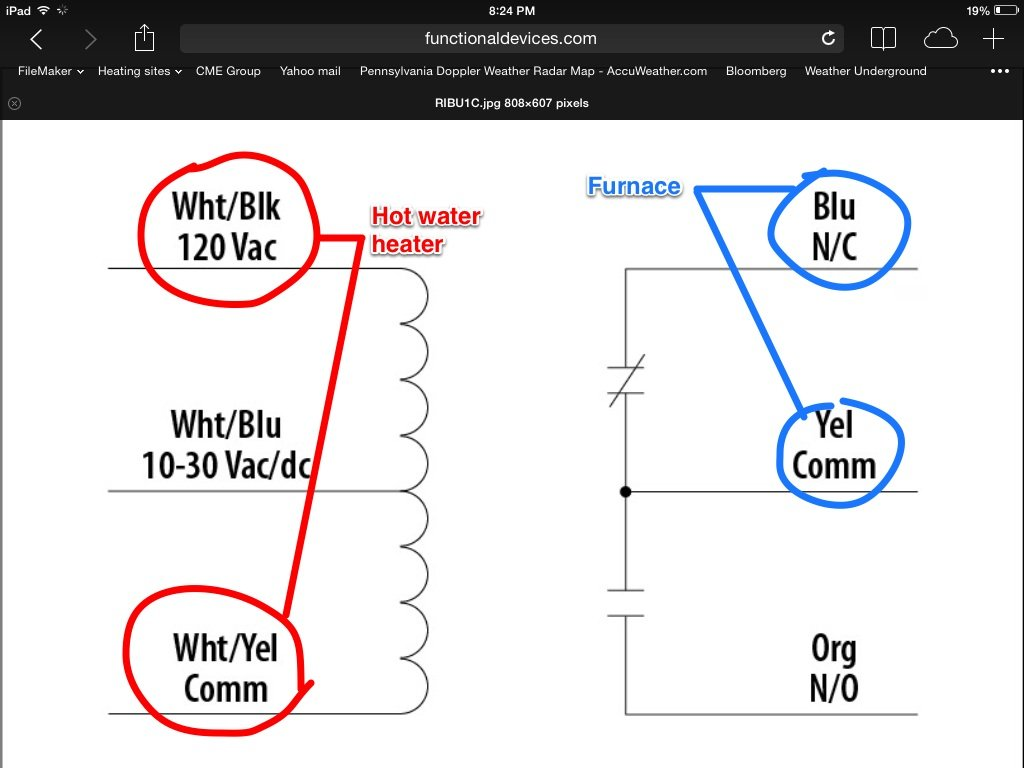 Ribu1c Relay Wiring Diagram : Wiring up a rib relay — heating help the wall
