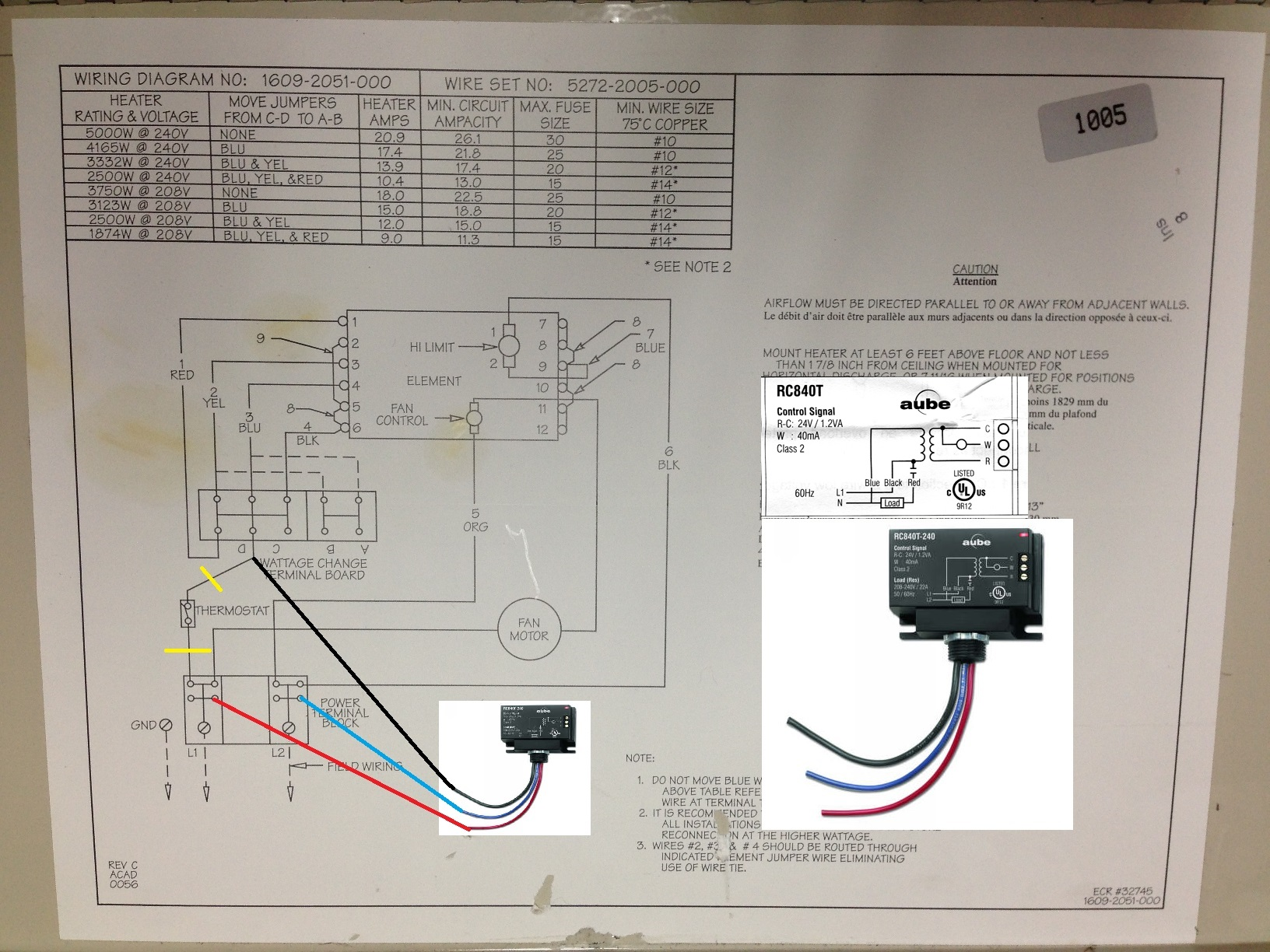 5kw W  Line Voltage Therm Heater Controlled From Nest