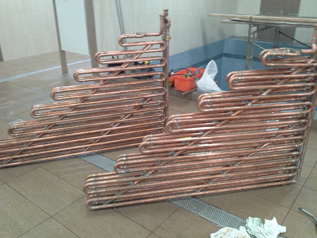 How to calculate btu output of each ft of copper pipe or