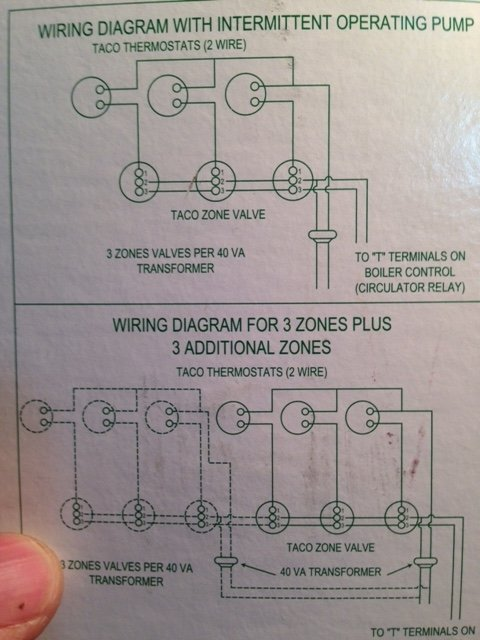 t7avssalnxav run a c wire to 2 on a taco valve? other location? heating help Taco 007 Circulator Wiring at readyjetset.co