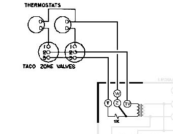 help wiring honeywell aquastat l8148e and 2x taco zone valves, Wiring diagram