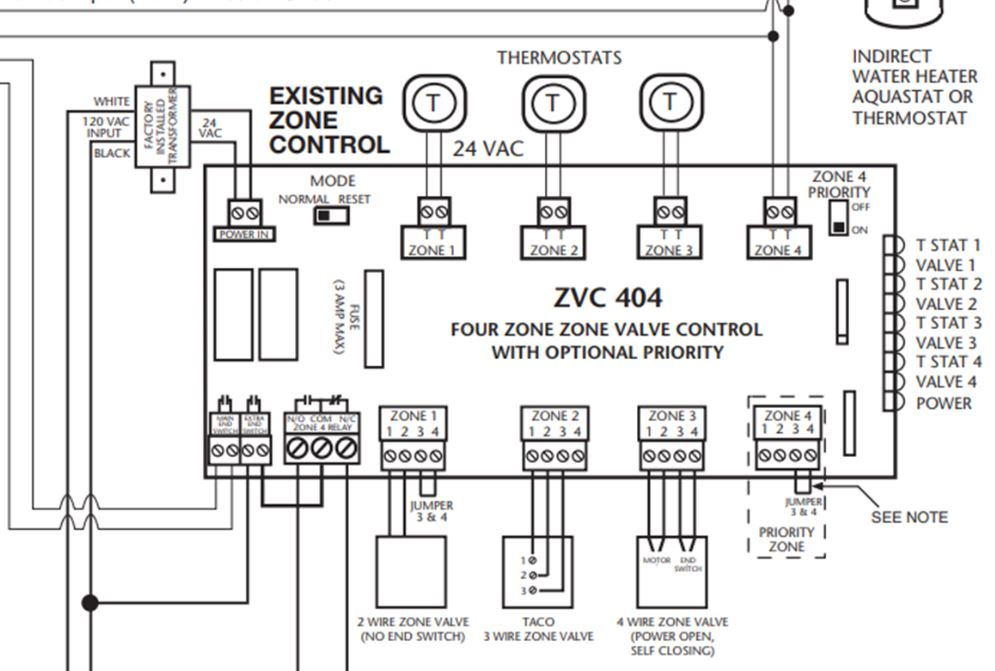 [SCHEMATICS_4NL]  Tying together 3 hydronic zones to be switched by one thermostat — Heating  Help: The Wall | Zvc404 Wiring Diagram |  | Heating Help: The Wall - HeatingHelp.com