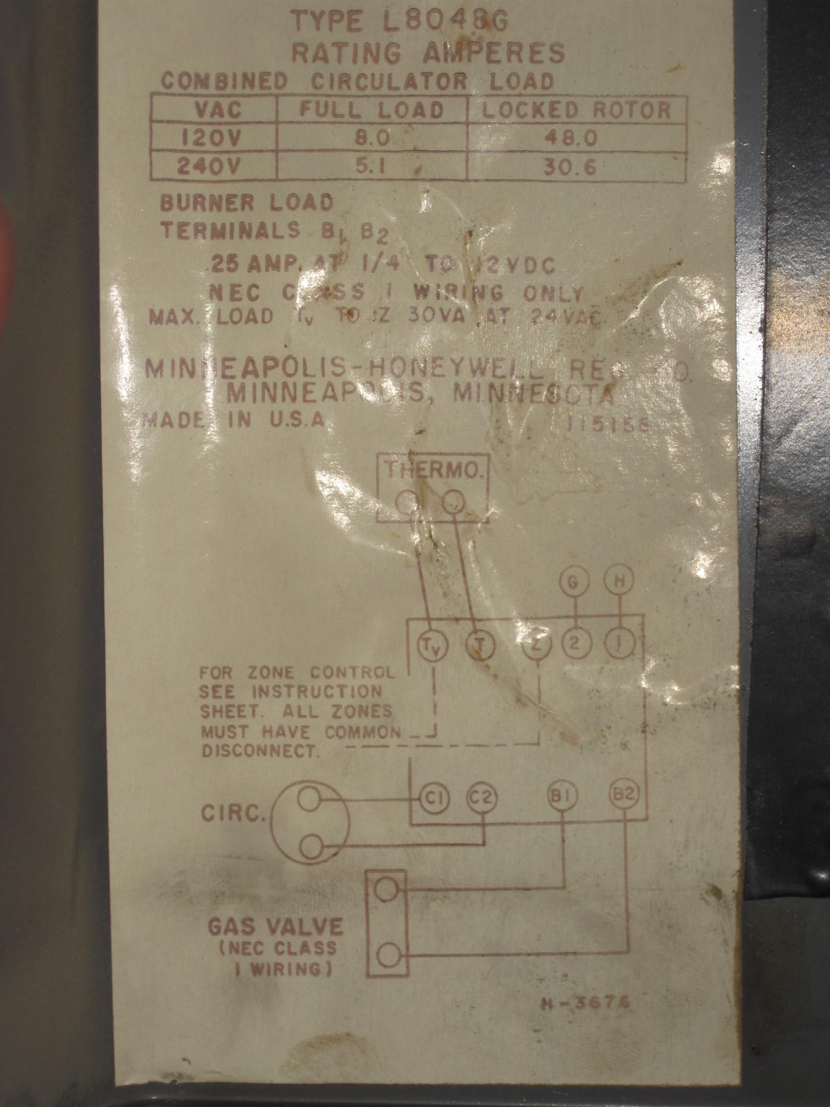 Honeywell Aquastar L8048g 2 Taco Zone Valves Adding A 24v Wiring Diagram Img 3333