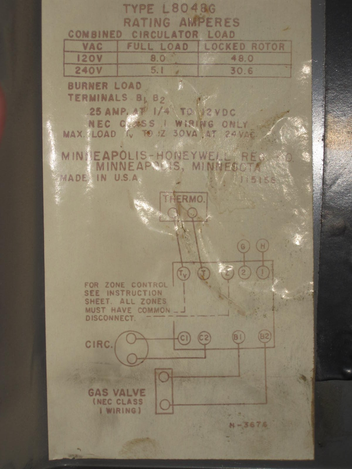 Honeywell Aquastar L8048g 2 Taco Zone Valves Adding A 24v Gas Valve Wiring Diagram Img 3333