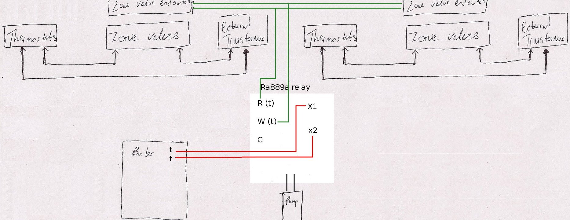 current desired layout with wire connections adding honeywell ra889a to system with external transformer honeywell ra89a wiring diagram at panicattacktreatment.co