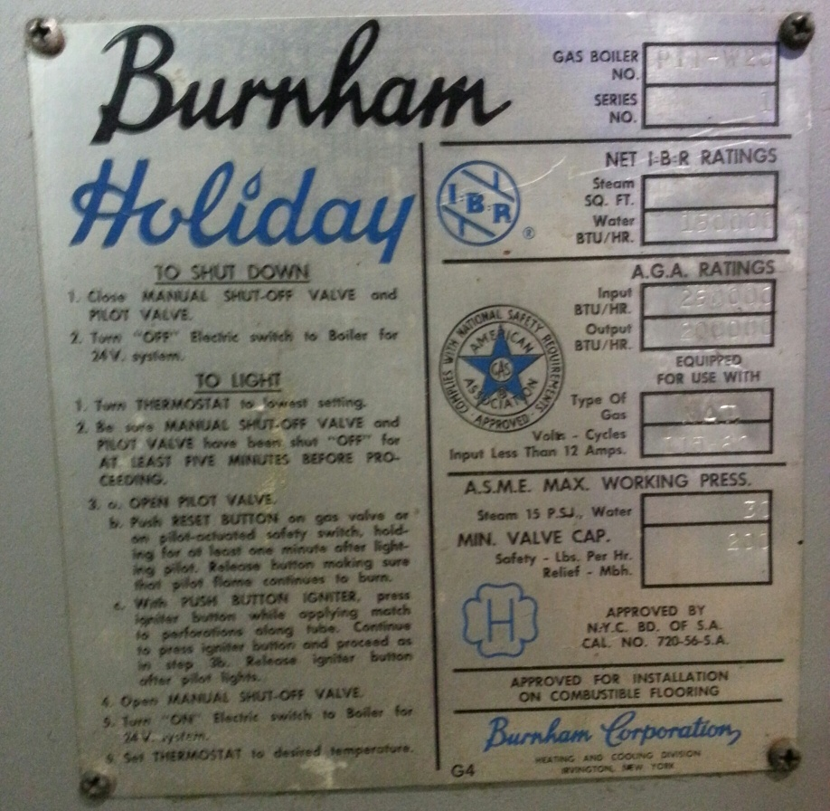 Need Help Identifying Old Burnham Holiday Series 1 Boiler