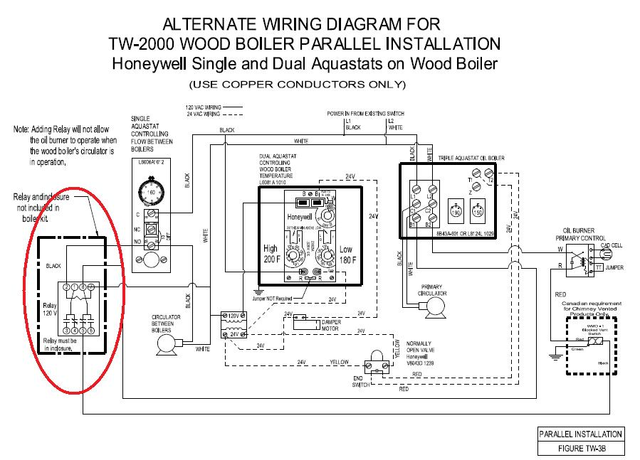 woodwiring using single aquastat to control relay to turn oil boiler burner boiler wiring diagram at gsmx.co