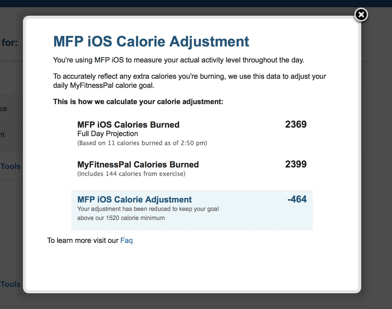 Steps Calories Adjustment — MyFitnessPal com