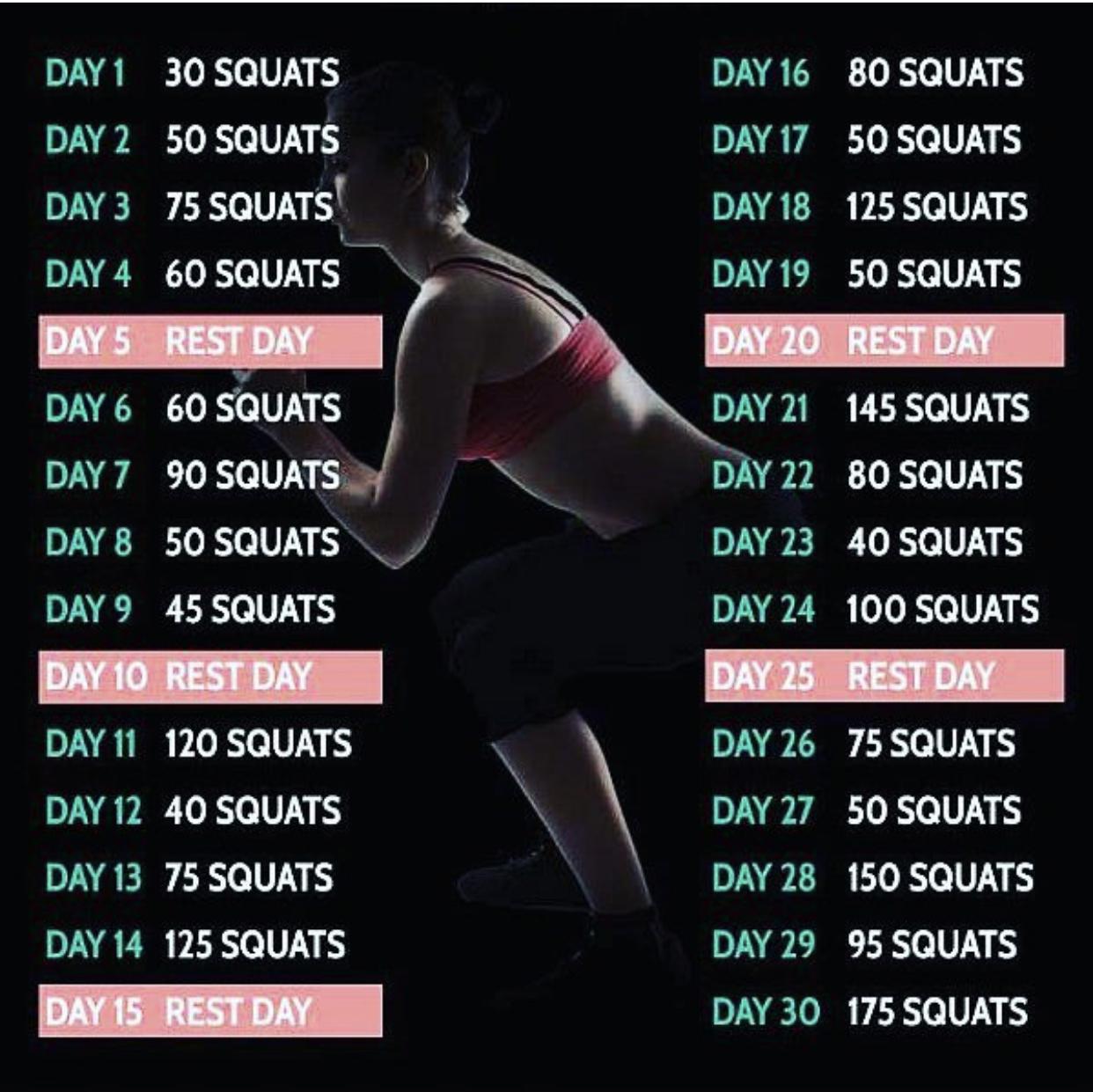30 Day Squat Challenge Myfitnesspalcom