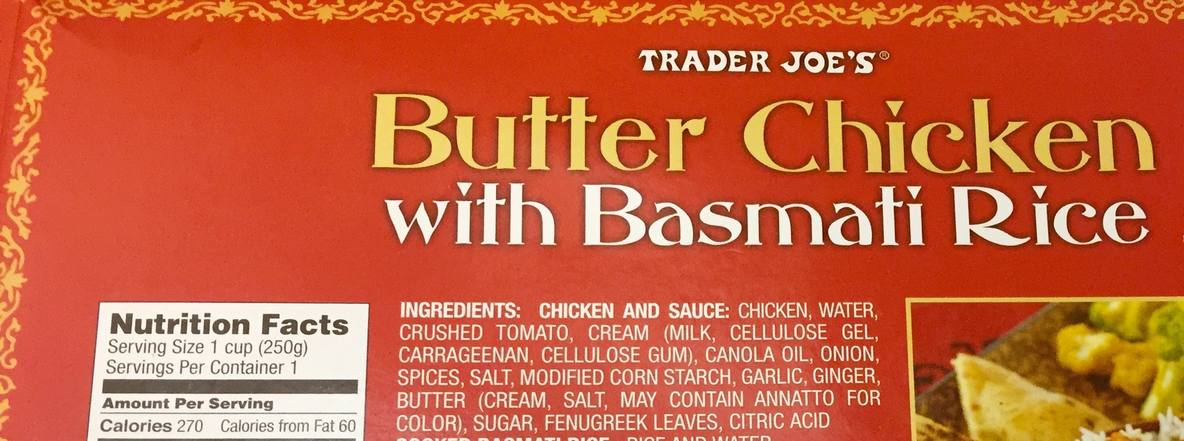 Trader Joe's Butter Chicken - conflicting nutritional info