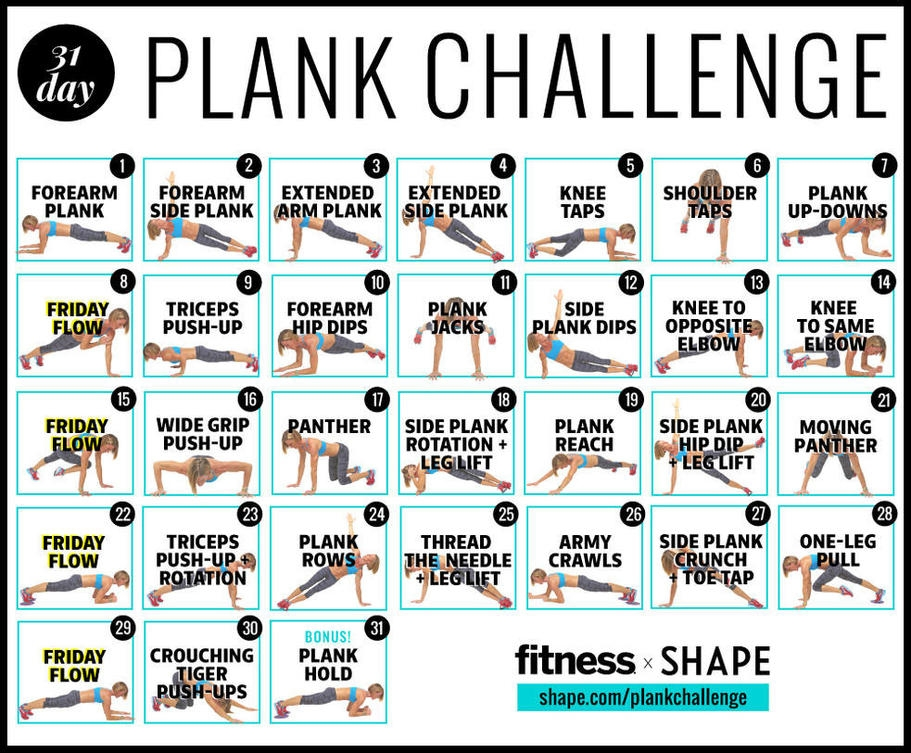 Modest image inside 30 day plank challenge printable