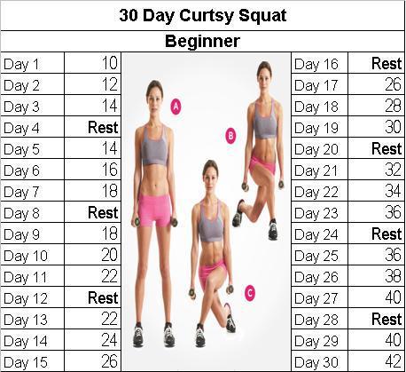 30 Day Curtsy Challenge Myfitnesspalcom