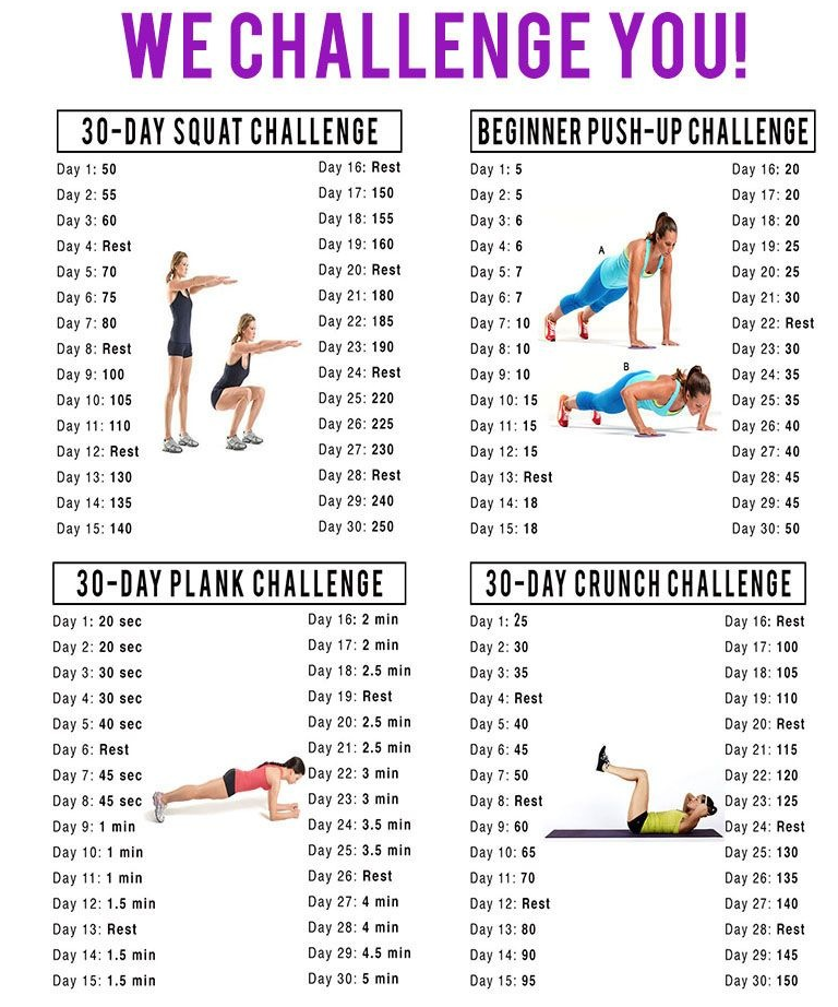 30 Day Squat Push Up Plank And Crunch Challenges Myfitnesspalcom