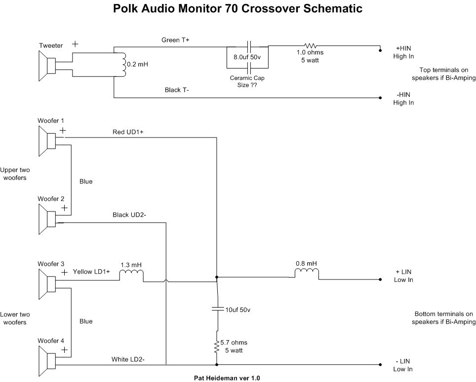 internal schematic and crossover data for monitor 70