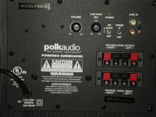 psw10 subwoofer hookup polk audio