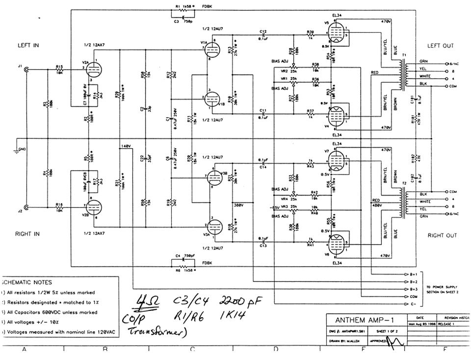 Does any have a schematic for an Anthem Amp 1? — Polk Audio