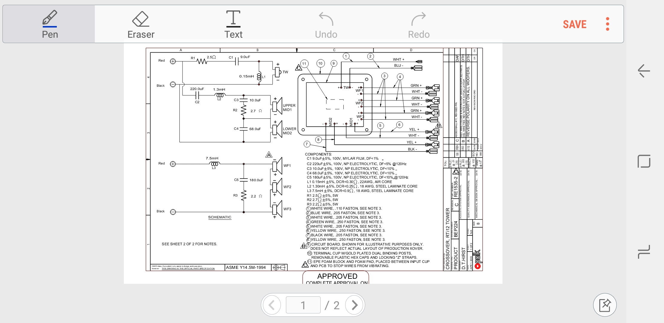 Single Polk Audio RTi70 Crossover Network Excellent Condition