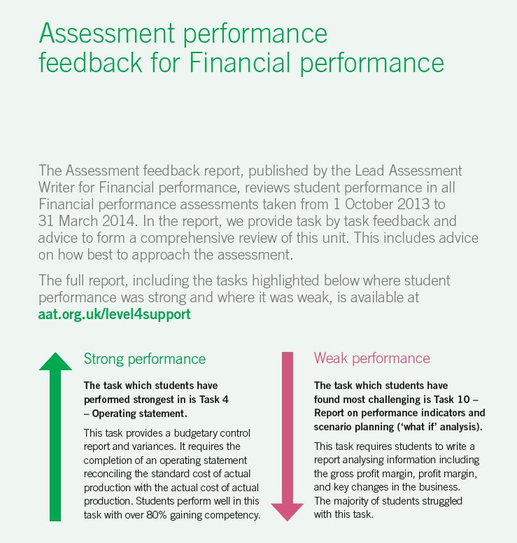 AAT Level 4 assessment performance feedback