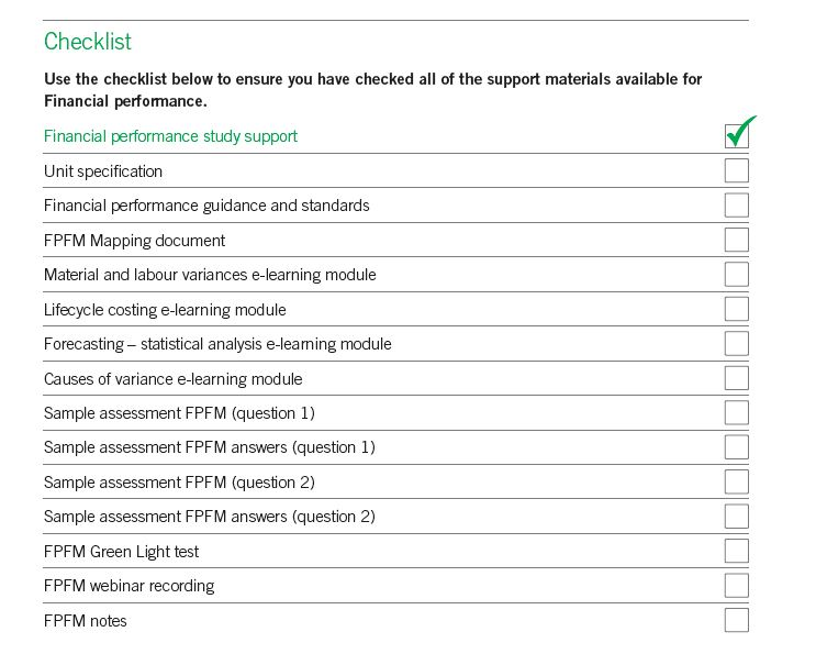 Financial Performance study support checklist
