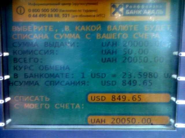 банкомат аваль карта