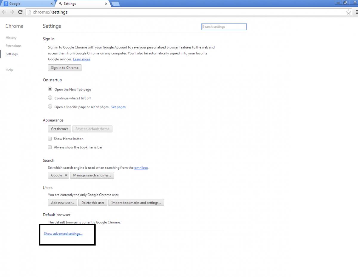 Google themes delete - Advanced Settings Png
