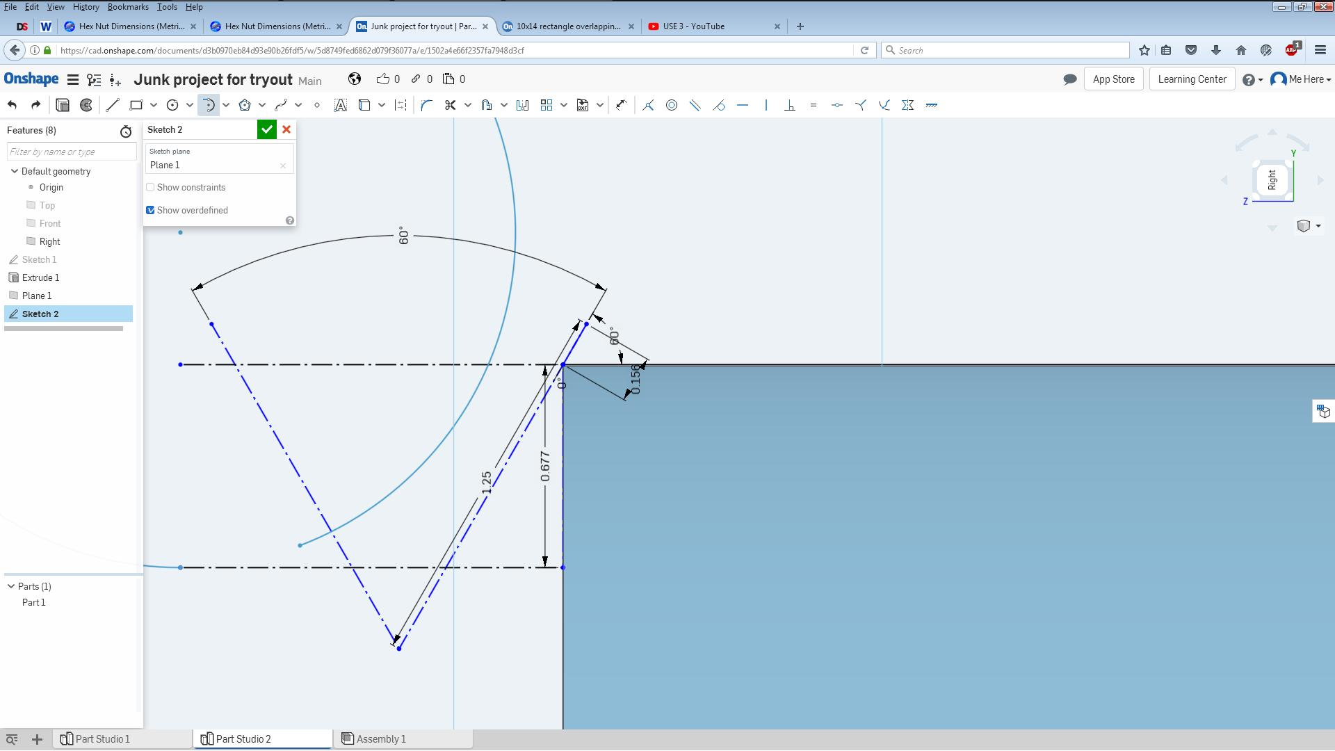 10x14 rectangle overlapping a 12mm circle equidistant — Onshape