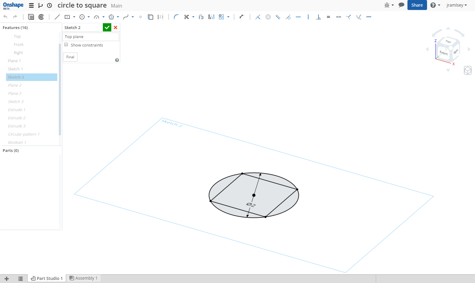 How to extrude from a circle to square — Onshape