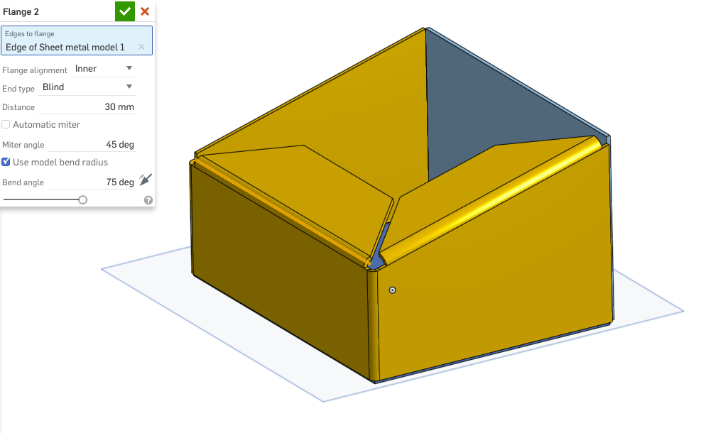 How Do I Align These Sheet Metal Flanges Onshape
