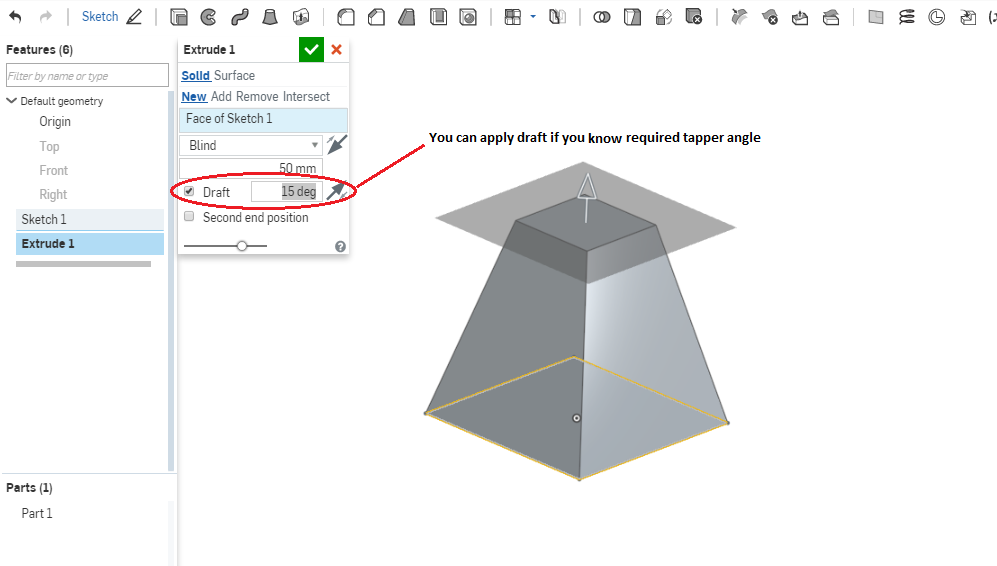 Tapered rectangle by extruding? — Onshape