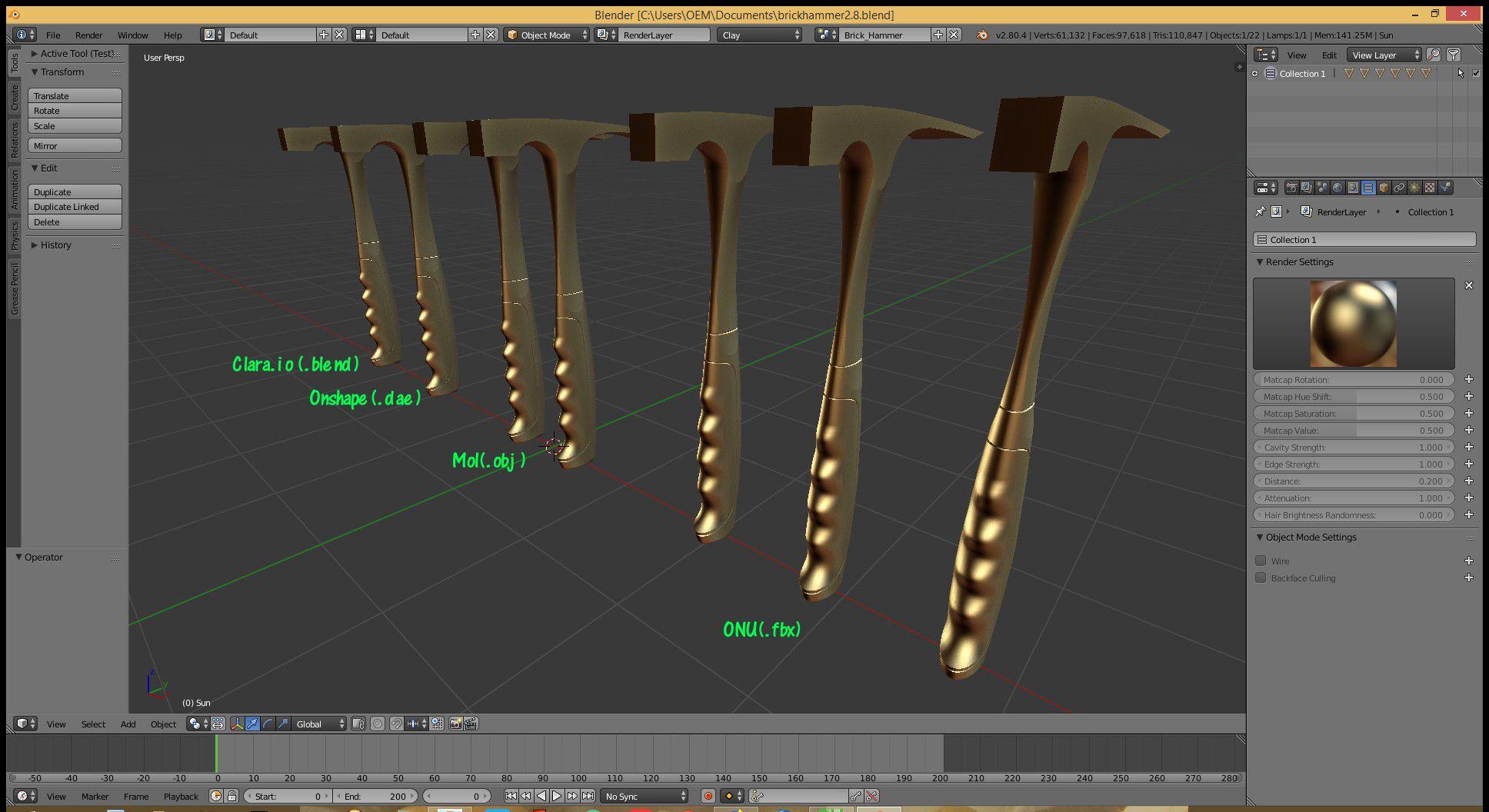 Workflow for modelling in Onshape, rendering in Blender