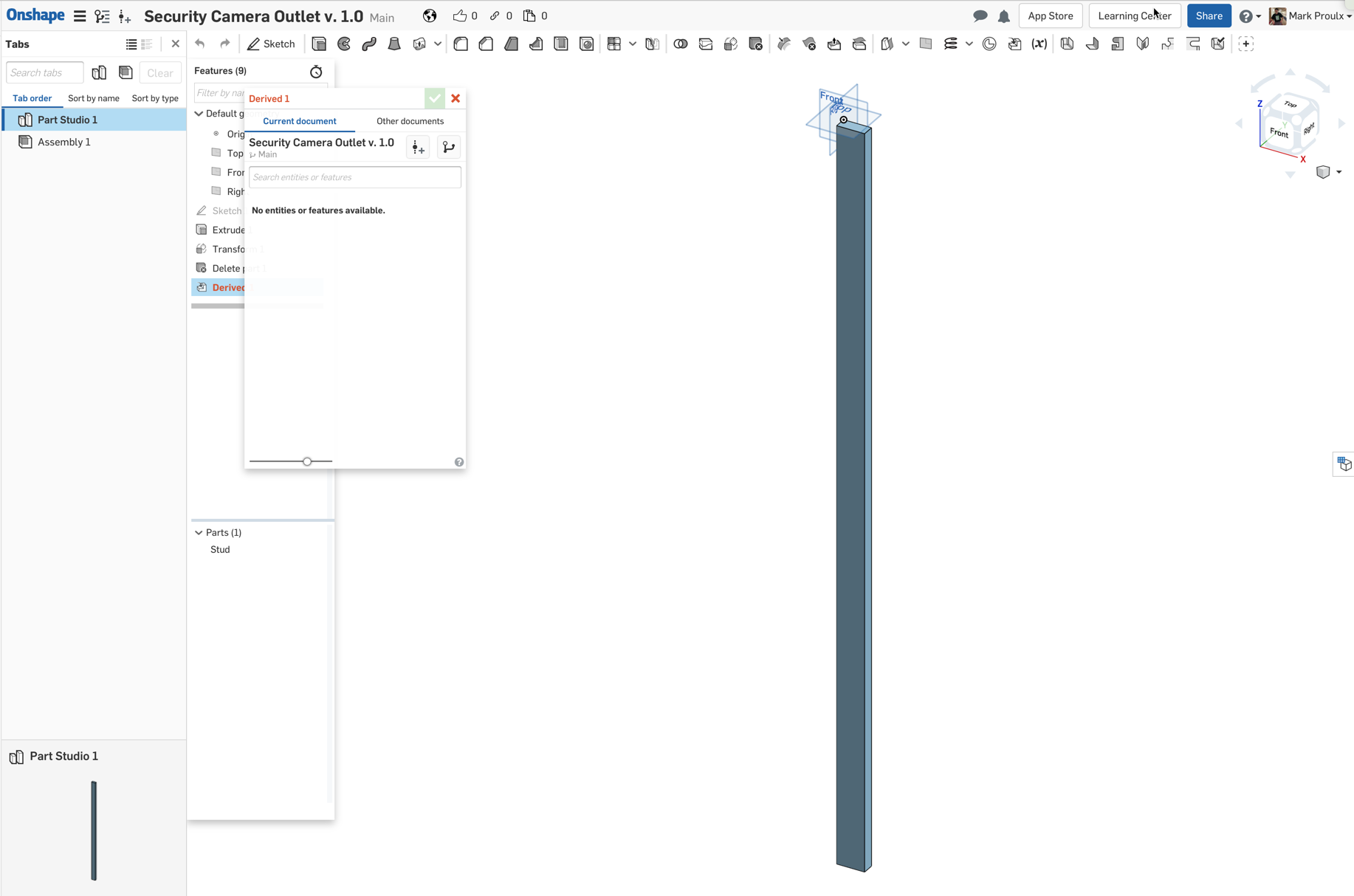 Using a part from one document in another document — Onshape