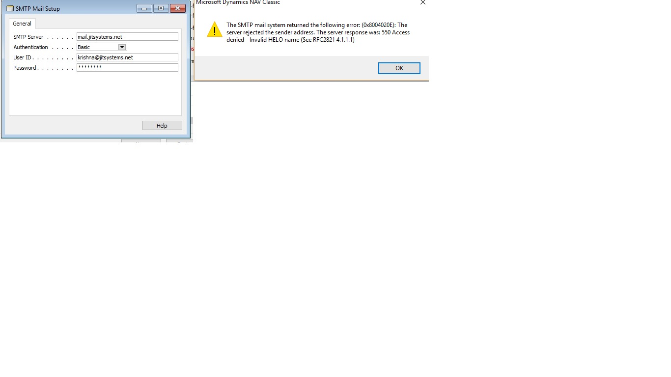 In nav 2009, SMTP Error — mibuso com