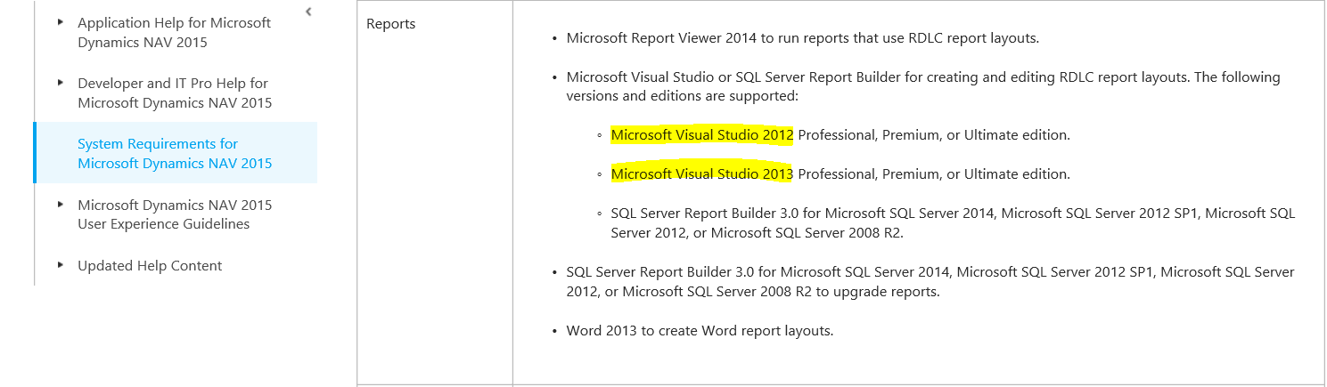 Is Visual Studio 2015 Professional compatible with NAV 2015