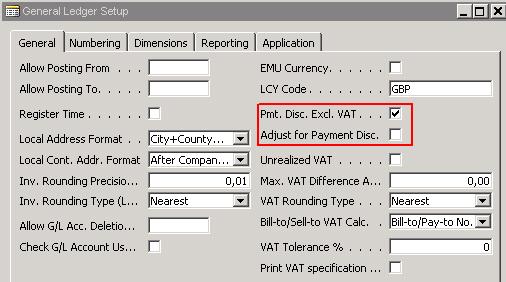 payment discount vat calculation on posting an invoice. Black Bedroom Furniture Sets. Home Design Ideas