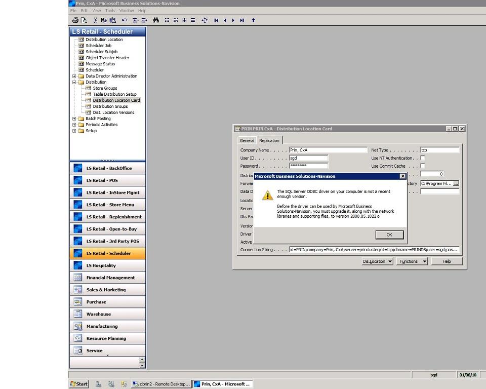 SQL server 2008, ODBC, NAV 4 0 SP3, Windows Server 2008 R2
