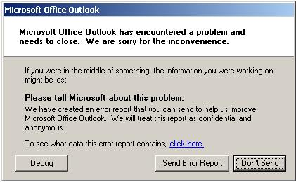 Outlook crashes when sending email — mibuso com