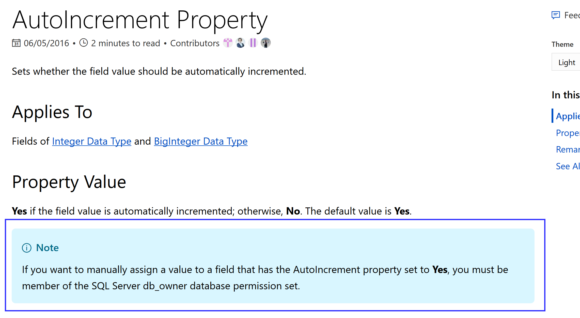 Resetting a Numeric Field with Property AutoIncrement=YES