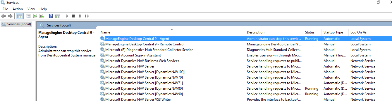 The Microsoft Dynamics NAV Application Server session for