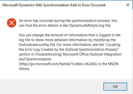 NAV 2017 Outlook Synchronization function - outlook