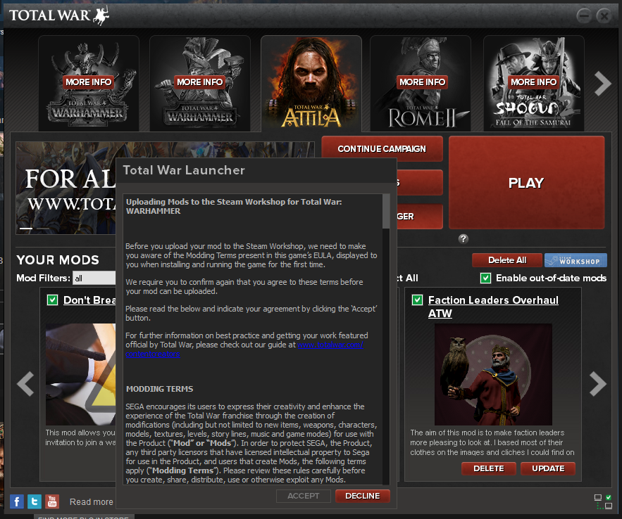 Total War Launcher uploads my Attila mod to Warhammer Workshop